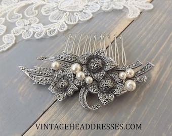 Vintage Marcasite & Pearl Hair Comb, Marcasite Bridal Hair Comb, Vintage Wedding Hair Comb, Floral Comb, Bridal Hair Accessory, Hair Clip