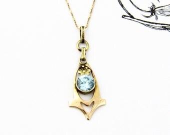 Vintage Blue Zircon Necklace | Art Deco 10k Yellow Gold Blue Zircon Lavalier Pendant Necklace | December Birthstone Bridal Wedding Jewelry