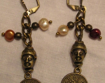 Bronze colour freshwater pearl, disc and Buddha earrings with safety clips