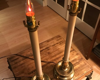 Tall Pair of Vintage Stiffel Candlestick Lamps
