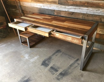 High Quality Reclaimed Wood Desk With Industrial Metal Base And Patchwork Top