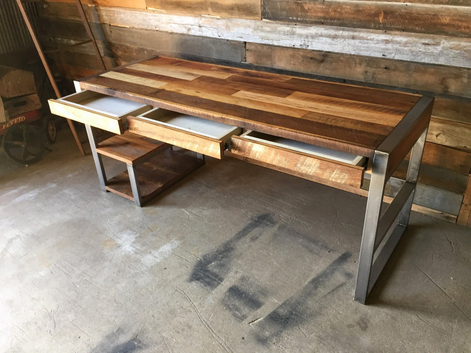 Reclaimed Wood Desk With Industrial Metal Base And Patchwork