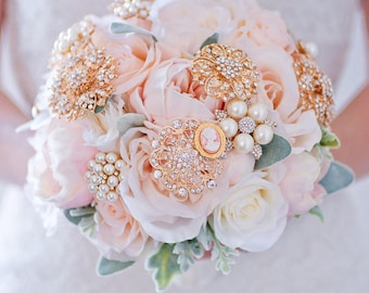 Custom Peony Rose Silk Flower Bouquet, Brooch Bouquet, Peach Blush Real Touch Artificial Bouquet, Bridal Bouquet, Faux Bouquet, Vintage