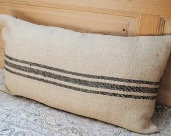 Authentic Grain Sack Body Pillow Sham Black Stripes / Antique linen / Handwoven hemp fabric / Handmade Pillow Sham