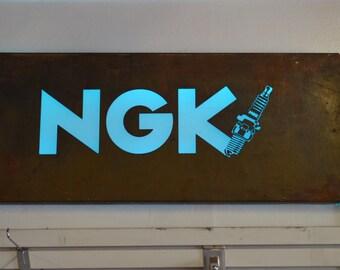 NGK spark plug metal led sign display vintage material
