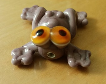 Purple Frog Lampwork Bead