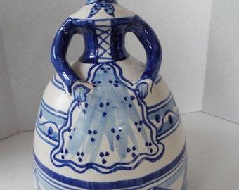 La Menora Talavera Spain pottery blue white ceramic Bell Lady Espana folk art blue white bell lady figurine