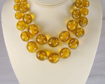 Vintage Vendome Copal Amber Bead Two Strand Necklace