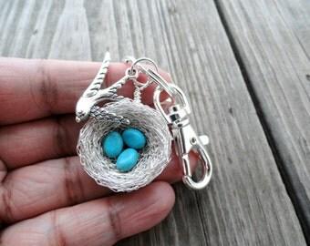 Turquoise egg keychain,mother,child,nest keychain,turquoise nest keychain,robin nest keychain,mother nest keychain,grandma keychain