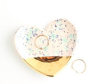 Mother's Day Gift, Heart Ring Dish, Heart Decor, Ceramic Ring Dish, Gold Home Decor, Gifts for Home, Gifts under 30, Trinket Dish