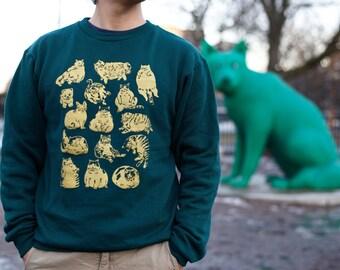 Cat pattern green sweat shirt-green sweat shirt-sweat shirt-green cloth-green fashion-cat sweat shirt-cats sweat shirt-cats shirt-cat tee-ca