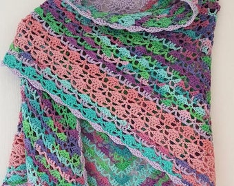 Crochet cotton shawl, stole, scarf,