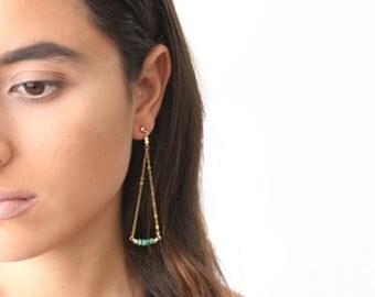 Drop Earrings, Gemstone Drop Earrings, Drop Chain Earrings, Gemstone Earrings, Crescent Earrings, Long Earrings,Long Dainty Earrings,Minimal