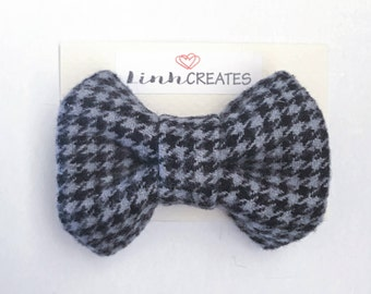 Bow Hair Clip | Grey Houndstooth