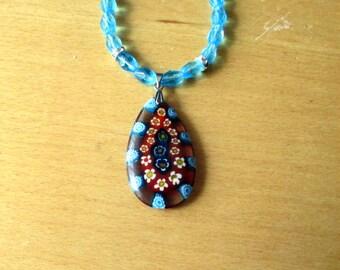 Millefiori Necklace, Blue Millefiori Pendant And Glass Bead Necklace