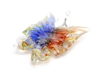 "Handmade Lampwork Butterfly Pendants in Blue and Orange 1.75""x1.5"" 1pc"