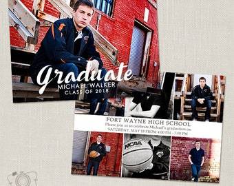 Senior Graduation Announcement Template for Photographers - 5x7 Flat Photo Card 014, INSTANT DOWNLOAD