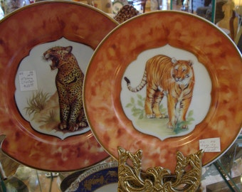 Big Cats Limoges Plates, Painted Tiger (8 inch) or Cheetah (10 inch) Plates, Choice or Both