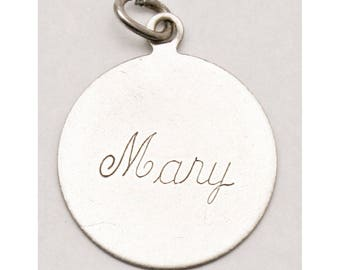 Sterling Silver Disc Bracelet Charm Engraved Mary