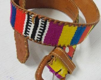 Guatemalan Belt 1960's Hippie Belt Boho Belt Brown Leather Belt Woven Belt