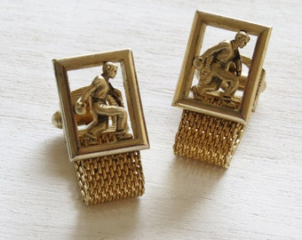 Bowler Bowling Cuff Links Gold Tone Vintage Swank Fold Over Cuff Links