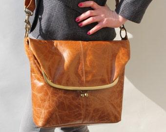 Dublin, Large Clip Bag, Tan Smooth Leather bag, Foldover Clip Bag