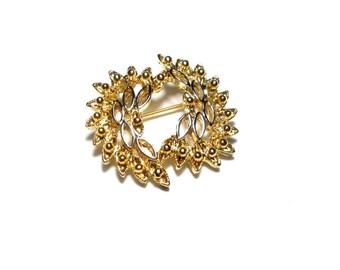 Vintage gold plated brooch Aconda, brooch gold plated 50 60 vintage antique