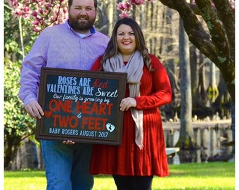 Valentine's Day Pregnancy Announcement Valentine's Day Pregnancy Reveal Growing Family Two Feet One Heart 16x20