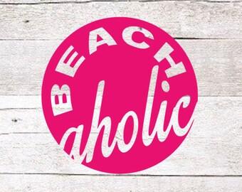 Beachaholic Decal | Beach Decal | Beach Yeti decal | Yeti Decal | Ocean Decal