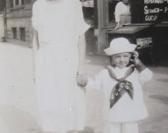 Vintage 1910's Mama's Little Patriot Sailor Boy Snapshot Photo - Free Shipping
