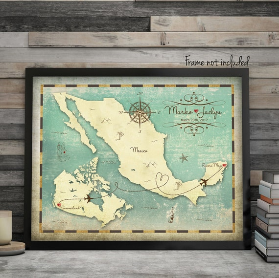Personalized Wedding Picture Frames Canada : Canada Map, Mexico Map, Wedding Guest Book Alternative, Custom Map ...