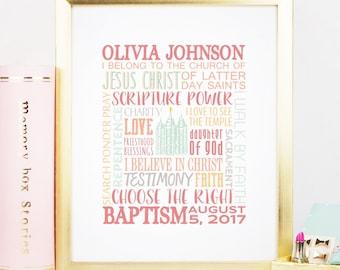 CUSTOM Girls Baptism Commemorative Printable | LDS Baptism Gift | Baptism Print | Girls Baptism | Customizable