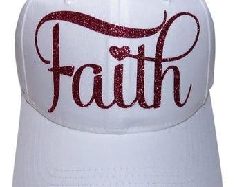"""NEW! Fuchsia Glitter """"Faith"""" White Baseball Cap"""