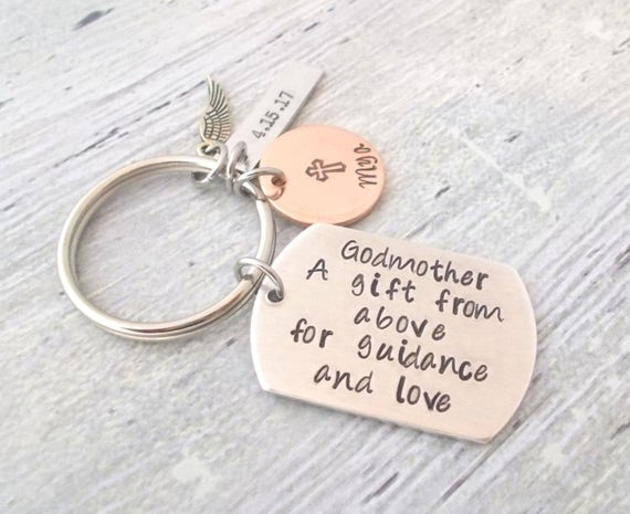 Godparent Keychain Gift For Godparents Gift For: Personalized Godparent Gift Baptism Gift Personalized