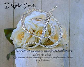 D Wedding Cake Topper, Letter D Gold Cake Topper, D Monogram Cake Topper, Initial D Cake Topper, Bling Cake Topper, Swarovski Rhinestone