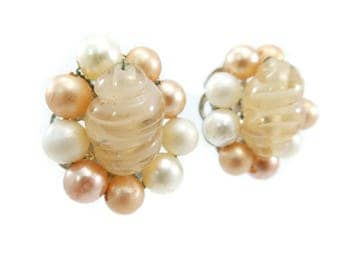 Vintage Japan Cluster Earrings, Art Glass Beads, Lucite Beads, Peachy Tones, Silver Tone, Clip Ons