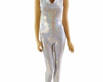 Shattered Glass Silver on White Holographic Sleeveless Hooded Catsuit with Flashbulb Hood Liner 150403
