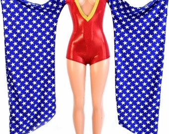 Wonder Woman Inspired Red Sparkly Jewel Plunging V Neck Romper w/Blue & White Star Kimono Sleeves and Gold Sparkly Jewel Neckline - 154232
