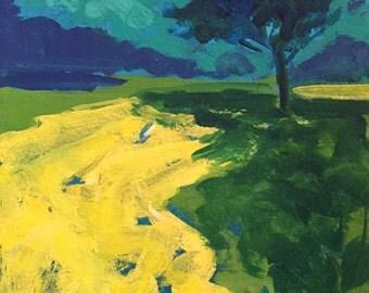 Landscape Painting, tree, meadow, green, yellow, purple