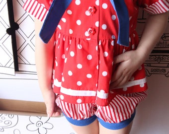 Vintage Red White and Blue Romper, Perfect for July 4th, Red/White Polka Dot, Vintage Kid Summer Outfit Fashion, Short Sleeve Romper