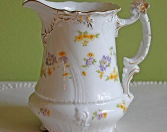 Antique Austrian Creamer. Porcelain Creamer. Cream Serving Pitcher with Hand Painted Tiny Flowers, Scalloped Rim, Intricate Handle. CT