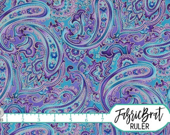 Teal & Purple PAISLEY Fabric by the Yard, Fat Quarter METALLIC GOLD Fabric Quilting Fabric Apparel Fabric 100% Cotton Fabric Yardage w4-25