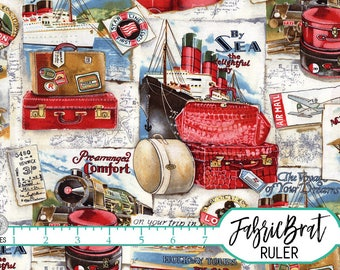 VOYAGE Fabric by the Yard, Fat Quarter Vintage Suitcase Fabric Cruise Fabric Travel Fabric 100% Cotton Fabric Quilting Fabric Yardage t2-22