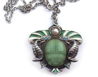 Antique Egyptian Revival Scarab Pendant Sterling Chrysoprase Pearl Enamel 1920s