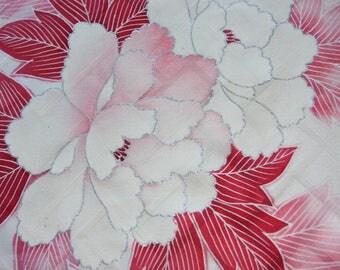 Peony Pink/ kimono fabric/ floral pattern/ Vintage Kimono silk fabric/B