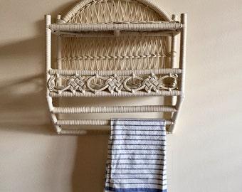 Wicker Towel Rack / Wicker Shelf / Boho Wicker Bathroom Shelf