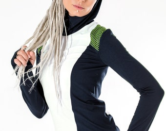 15% OFF Gray woman hoodie modern pullover white long sleeves thumb holes shirt - Mi8 woman gray