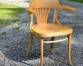 RESERVED Vintage Bentwood Chair ZPM Radomsko Light Tone Wood Arm Chair Poland PanchosPorch