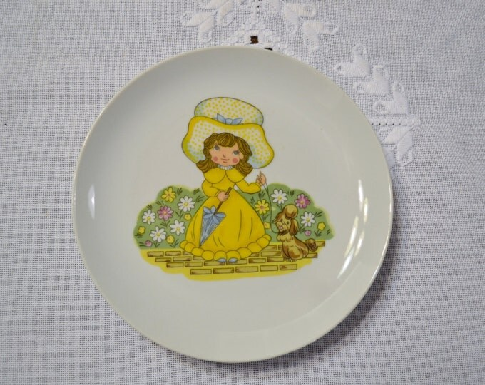 Vintage Decorative Plate Girl and Poodle Dog Yellow Dress Girlie Girls Bedroom Decor Japan Panchosporch