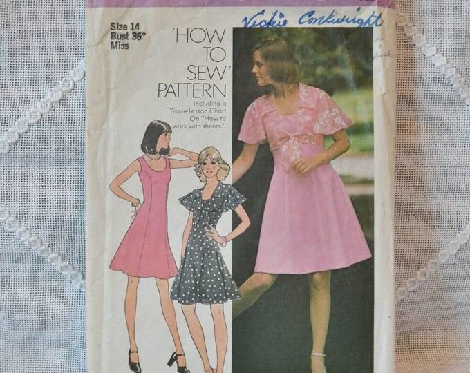 Vintage Simplicity 6798 Sewing Pattern Crafts Misses Dress Top Princess Seam Size 14 DIY Sewing Crafts PanchosPorch